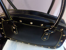 Black faux leather punk studded rivets yellow stitching baguette handbag