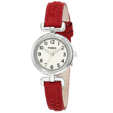 Timex Women's Weekender Analog Quartz Brass Case Red Leather Watch T2N661