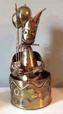 Vintage Copper Metal Clown Rotating Music Box Hong Kong Japan