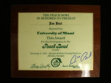 Jim Burt U. Miami 1981 Peach Bowl Award Plaque – Autographed – EX-NM