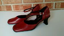 Nine West Red Leather Square Toe Chunky Kitten Heal Ankle Strap Size 6M