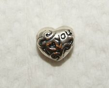 "Sterling Silver 925 ""I Love (Heart) You"" Heart Shaped Charm/Bead - See Photos"