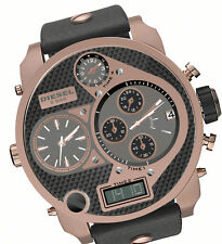 DIESEL MY DADDY ROSE GOLD,BLACK LEATHER BAND,4 TIME ZONE,ANA-DIGIT,WATCH-DZ7261