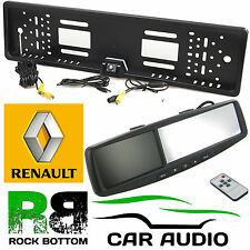 "RENAULT 4.3"" Rear View Reversing Mirror Monitor & Car Number Plate Camera Kit"