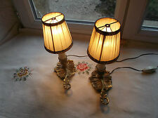 French antique - vintage a pair of bedside lamps bronze  fabric shade pretty