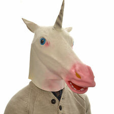 Latex Full Head Overhead Goofy Unicorn Funny Animal Cosplay Halloween Fancy Mask
