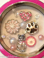 ❤️AUTHENTIC ORIGAMI OWL 4 CHARM SET ~ I LOVE MY CAT ~ HEART PAW FLOWER DAISY❤️