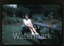 1960s kodachrome photo slide  Lady sitting a bench