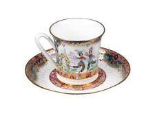 Russian Imperial Lomonosov Porcelain Bone Tea Cup & Saucer Russian Ballet Gold