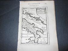 1683 CARTA GEOGRAFICA MALLET PARTE MERIDIONALE DELL'ITALIA ANTICA