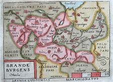 Ortelius: Kolorierte Kupferstich Landkarte Brandenburg Berlin Neumark Polen 1655