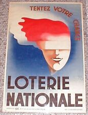 Great * 1935 * French * LOTERIE NATIONALE * Art Deco Poster * Woman in Bondage