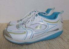Womens SKECHERS SHAPE UPS Shoes Sneakers- White/Blue Leather- Size 10