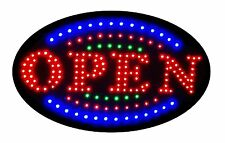 """Jumbo 24"""" x 13"""" LED Neon Sign with Motion - """"OPEN"""" with Blue/Green Tracer U161"""