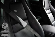 4X BLACK & GREY LEATHER TWO TONE LUXURY SHOULDER SEAT BELT PADDED PADS