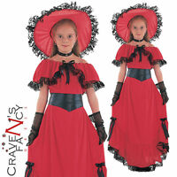 Child Scarlet O Hara Costume Girls Victorian Book Week Day Fancy Dress Outfit