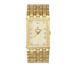 Bulova Men's 97F52 Diamond Hour Markers Yellow Gold Dress Watch