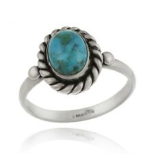 925 Silver Turquoise Oval Vintage Ring Size 7