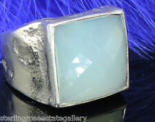 Checkerboard Blue/Green Chalcedony Sterling Silver 0.925 Estate Ring size 8.5