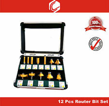 12pcs Professional Router Bit Set for Wood Working - 8mm Shank