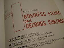 Original Vintage 1964 BUSINESS FILING RECORDS CONTROL Textbook w DJ 202 pgs 219