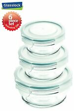 Snaplock Lid Tempered Glasslock Storage Containers 6pc set Round~Spill Proof