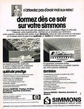 PUBLICITE ADVERTISING 084  1974  SIMMONS  matelas  quiétude & dominion