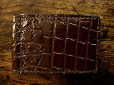 New Mahogany Brown Genuine Alligator Skinny Clip Wallet Made in USA