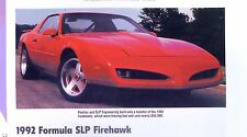 1992 Pontiac Formula Firebird Firehawk SLP Info/Specs/photo prices 11x8
