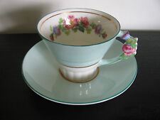 1939 Paragon GeorgeVI & Queen Elizabeth Floral Handle China Cup & Saucer