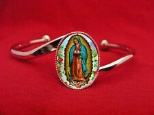 OUR LADY OF GUADALUPE VIRGIN MARY SAINT MEDAL ADJUSTABLE BANGLE CUFF BRACELET