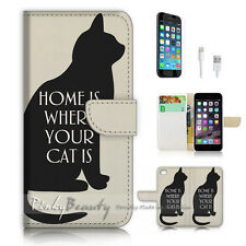 iPhone 7 (4.7') Flip Wallet Case Cover P2992 Cat Home