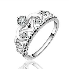 Silver Crown elegant women wedding bridal ring diameter 17 mm size O FR233