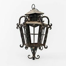 "Wrought Iron Tuscan Style Outdoor Post Light Lantern Sconce 18"" tall x 11"" wide"