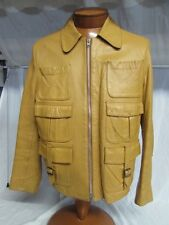 * Ibex of England * Mod 70's Hippie Leather Jacket 6 Pockets! made in Ireland!