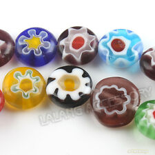 1x Lots Assorted Millefiori Single Flower Pattern Oblate Lampwork Glass Beads J