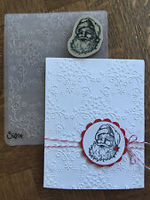 Stampin Up retired SANTA clear Stamp & New Alpine Embossing folder