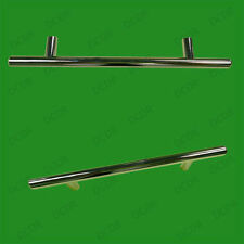 4x 128mm Chrome Effect T Handle Bar Door Drawer Handle Wardrobe Cupboard