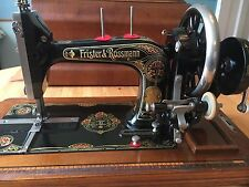 Vintage Frister & Rossmann Handcrank Model K sewing machine with accessories