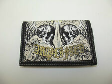 Unisex Amplificado Winged Skull Diseño Fold Out Bolso / Cartera-Off Blanco / Oro