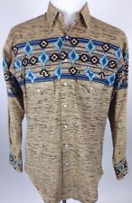 VINTAGE ROCKMOUNT RANCH WEAR WESTERN PEARL SNAP SHIRT MENS MEDIUM AZTEC PRINT
