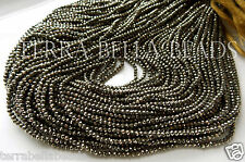 "Full 13"" strand natural golden AAA PYRITE faceted gem stone rondelle beads 2mm"
