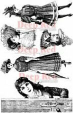 Deep Red Rubber Cling Stamp Victorian Ladies of Fashion