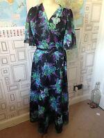 VINTAGE 70'S BLACK & BLUE FLORAL BELTED  FLOATY EVENING MAXI DRESS UK 10-12 S/M