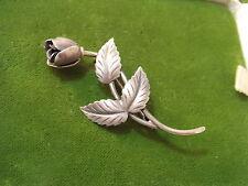 Vintage 1950's S Christian Fogh Denmark Rose Flower Sterling Silver Brooch 5b 33