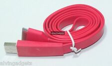 Flat USB Charge Sync Cable For Apple iPhone 3G/S 4/4S iPad iPod Touch Nano(Red)
