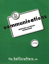 Hallicrafters S-77A  S77A Operating & Service Manual 13 Pages