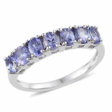"AA Tanzanite 7 Stone ""Half Eternity""Band Ring. 925 Sterling Silver."