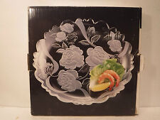 """Caldor Clear Round Serving Tray Pressed/Etch Glass Rose/Flower Plate Platter 14"""""""