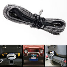 1x 50' 6400 LBs Black Dyneema Synthetic Winch Cable Cord Rope For SUV ATV Pickup